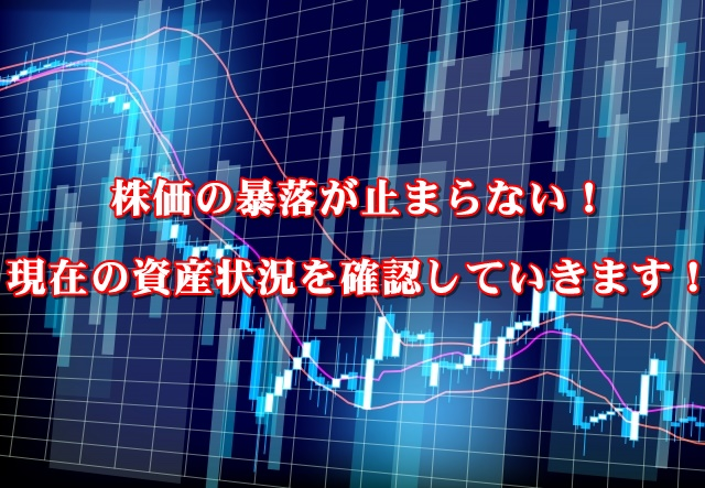 株価の暴落が止まらない!現在の資産状況を確認していきます!